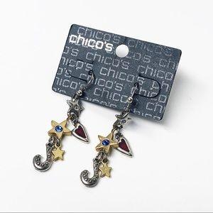Chico's Heart & Star Charm Drop Earrings